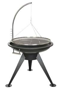 Sven Wilke/Fa. Feuerwerk-Planet XXL Braséro en acier inoxydable avec grille à barbecue suspendue 80 cm