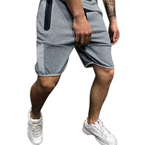 Pantalones Cortos para Hombre,JiaMeng Zipper Splice Stripe Trabajo en la Playa Pantalones...
