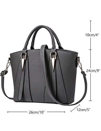 Menschwear Damen PU Handtaschen Damen Handtasche Schwarz Handtasche Schule Damen Handtaschen Schwarz Grau