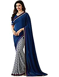 Women's Clothing Designer Party Wear Blue Georgette Wedding Saree With Blouse Piece (Georgette,Blue, Free Size)
