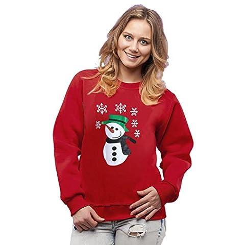 Rcool Dame Long Sleeve Weihnachten Elch Schnee Print Party Pullovers T-Shirt Tops (XXL, C)