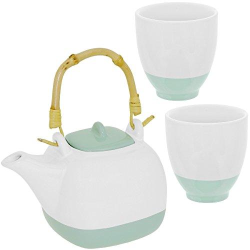 Promobo - Set Ensemble Théière Céramique Avec Anse Bambou Et Deux Mugs Vert d'eau