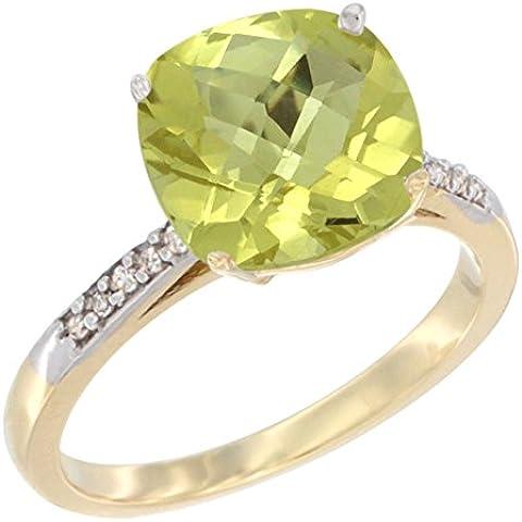 Oro giallo 14 kt con quarzo citrino-Cuscino 9 mm, taglio a diamante accent, taglie J-T - Taglio Cuscino Diamante