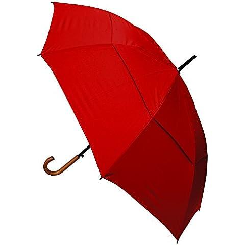 COLLAR AND CUFFS LONDON - Paraguas Clásicos - MUY FUERTE - Antiviento - Apertura Automático - Doble Cubierta Para Luchar Contra El Daño Causado Por Giro - Mango De Madera Maciza - Rojo