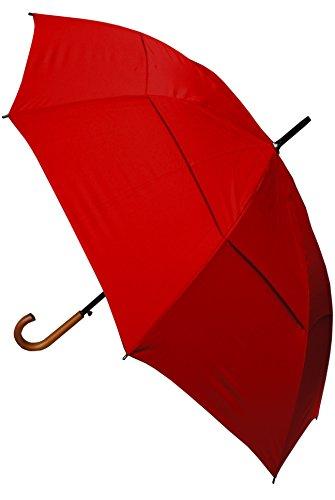 COLLAR AND CUFFS LONDON - Ombrello Classico - MOLTO FORTE - Antivento - Automatico - Doppio Telo Per Combattere I Danni Causati Da Ribaltamento - Impugnatura in Legno - 134cm Tela - Rosso - Grande