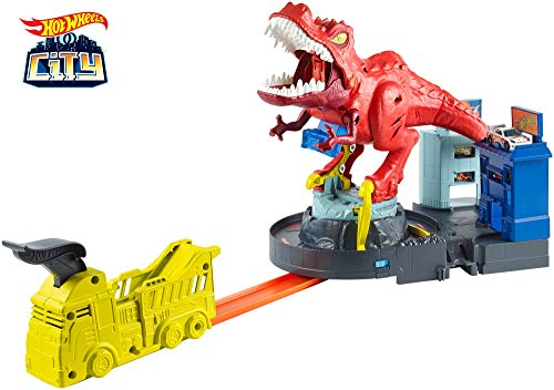 Hot Wheels City T-Rex Devorador Destructor, Pista de Coches de Juguete con Dinosaurio (Mattel GFH88)
