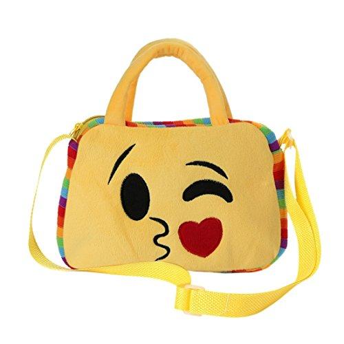Emoji Tasche, Messenger Umhängetasche für, Cute Emoticon Lunch Rucksack Handtasche für die Schule, Emoji Gesicht Ausdruck Travel RuckSack für Kinder Kinder - Face Blowing a Kiss von Purple-Salt® (Kiss Stärke)