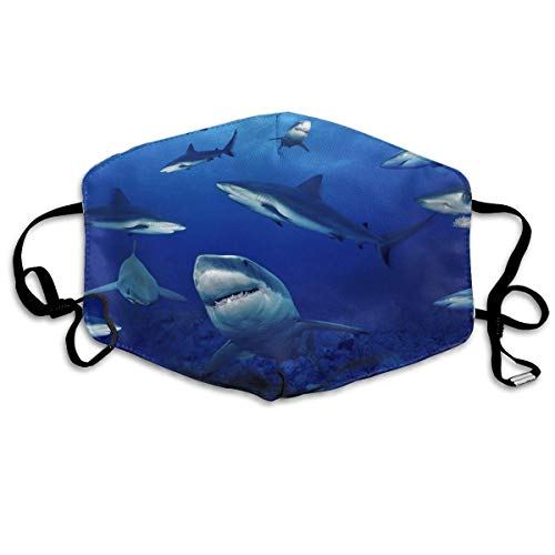 Face Mask Shark Swim Blue Ocean Earloop Face Mask - Adjustable Elastic Strap for Kaomoji Cycling, Anti Bacteria Dustproof Face and Nose Cover, Half Face Mouth Mask/Cover