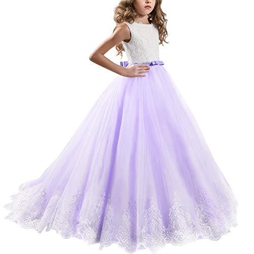 a3928bd96f Princesa Vestido de Niña de Flores Appliques de Encaje Tul Bowknot Boda  Vestidos de Dama de