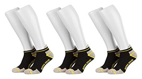 Tobeni 6 Paar Arbeits- und Freizeit Sneaker-Socken TAB Sneakers - Füsslinge mit verstärkter Ferse und Spitze Farbe Schwarz Grösse 43-46