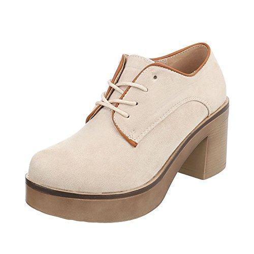 r Damen-Schuhe Oxford Blockabsatz Schnürer Schnürsenkel Halbschuhe Beige, Gr 38, Th82210- ()