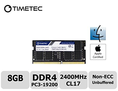 Timetec Hynix IC Apple 8GB DDR4 2400MHz PC4-19200 SODIMM Memory Upgrade For iMac Retina 4k/5K 21.5-inch/27-inch Mid 2017 (8GB)