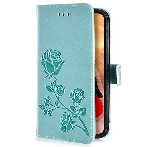 Uposao Kompatibel mit iPhone X/iPhone XS Handyhülle Handytasche Rose Blumen Muster Leder Wallet Schutzhülle Brieftasche Hülle Klapphülle Brieftasche Tasche Flip Case Kartenfächer,Grün