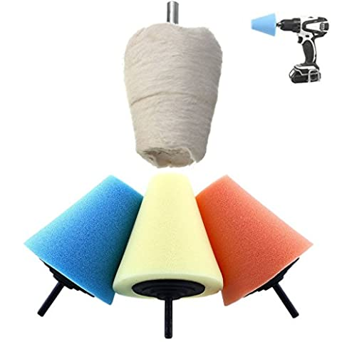 SPTA Foam Polishing Cone Shaped Polishing Pads And Buff Polishing Mop for Wheels - Use with Power Drill Pack of 4Pcs