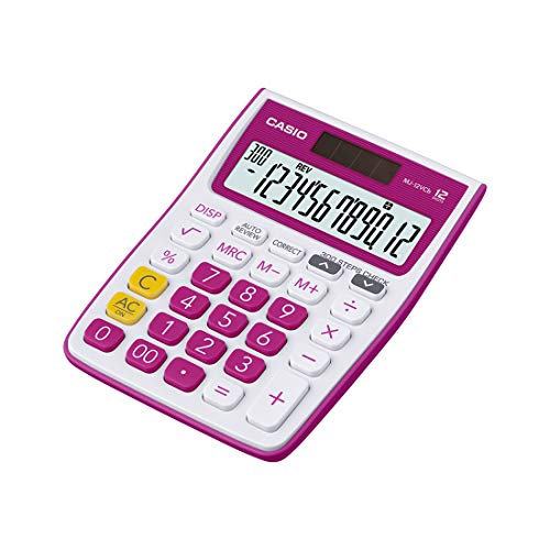 Casio MJ-12VCb-RD 300 Steps Check & Correct Colourful Desktop Calculator (Red)