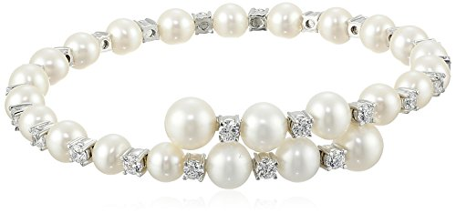 Amazon AuraPearl Sterling Silver 6.5-7mm White Freshwater Cultured Pearl and Cubic Zirconia Overlap Cuff Bracelet