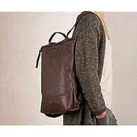 Mochila de cuero marrón portátil, mochila para hombre, mochila grande marrón, mochilas cuero artesanas unisex,