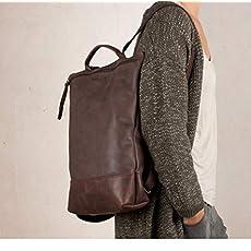Mochila de cuero marrón portátil, mochila para hombre, mochila grande marrón.