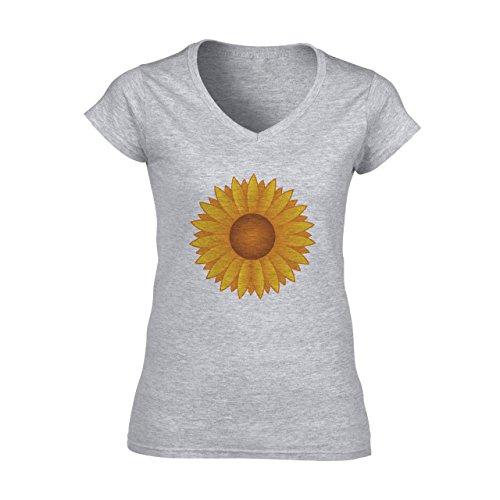 Flowers Nature Blossom Plant Sunflower Yellow Cartoon Damen VNeck TShirt  Grau