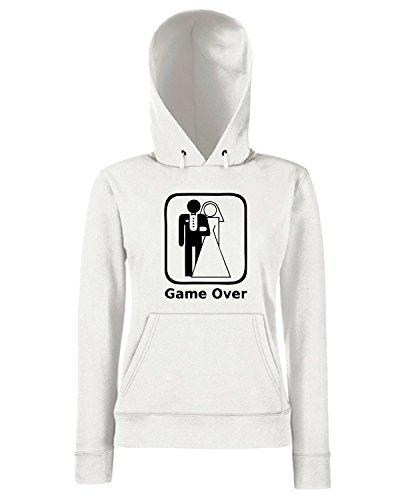 T-Shirtshock - Sweats a capuche Femme MAT0028 Game Over L addio al celibato Maglietta Blanc