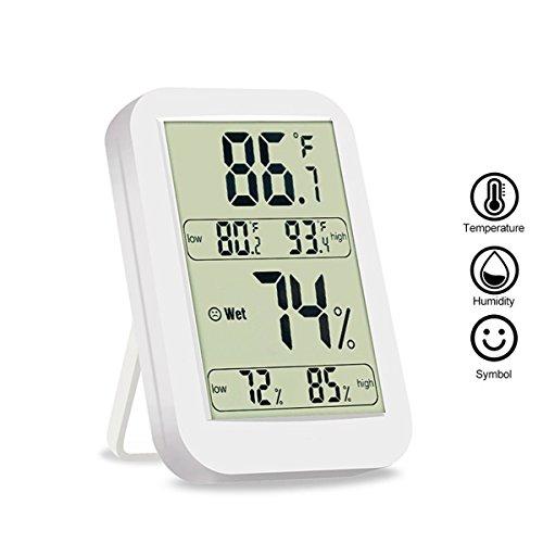 Thermometer Hygrometer Digital NuoYo Wetterstation Luftfeuchtigkeit Messgerät mit LCD-Display für Innen- und Außentemperatur- und Feuchtigkeitsanzeige mit Max / Mini-Speicher ℃/℉ Switch (Nur Eine Batterie Erforderlich)