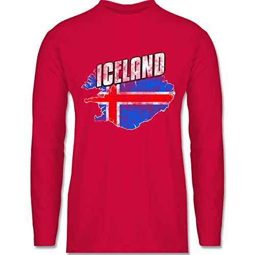 Shirtracer Fußball-WM 2018 - Russland - Iceland Umriss Vintage - Herren Langarmshirt Rot