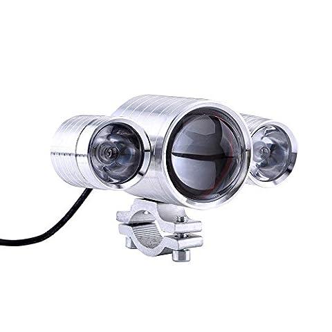 Qiilu Motorrad Motocross LED Scheinwerfer Teufel Augen Lichter Wasserdichte Scheinwerfer Nebel Lampe[Silber]