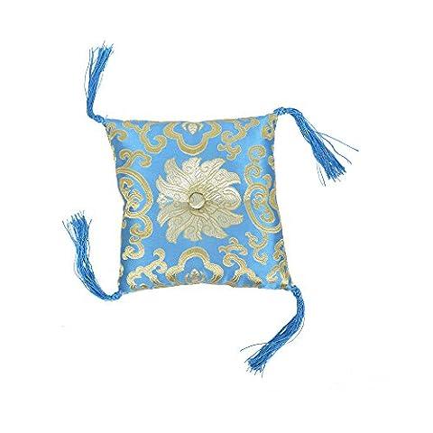 Oreiller à brocart couté bleu (12x3cm) avec coussin à billes Tassels Singing
