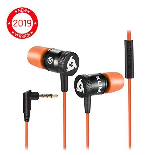 KLIMTM Fusion Ecouteurs Haute Qualité Audio - Durables + Garantis 5 Ans - Innovant - Ecouteur Intra-auriculaire avec Mousse à Mémoire de Forme et Microphone - Prise Jack 3,5mm - Version 2019 - Orange