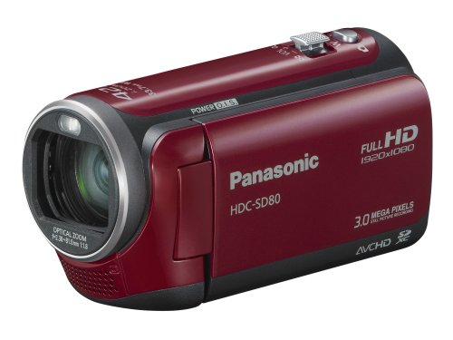 Cheap Panasonic SD80 Full HD Camcorder – Red (SD Card Recording, x42 Intelligent Zoom, x37 Optical Zoom, Wide Angle Lens & iA + Face Recognition & New Hybrid OIS)
