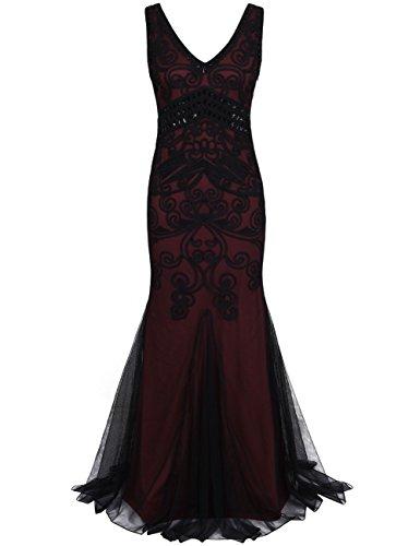 Kayamiya Damen 1920er Maxi Lange Meerjungfrau Formelle Gatsby Flapper Abendkleid L Burgund (Der Große Gatsby Kleider)