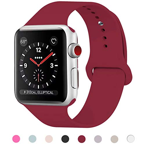HILIMNY Para Correa Apple Watch 42MM, Suave Silicona iWatch Correa, Para Series 3, Series 2, Series 1, Nike+, Edition, Hermes (Rose Red, 42MM-ML)