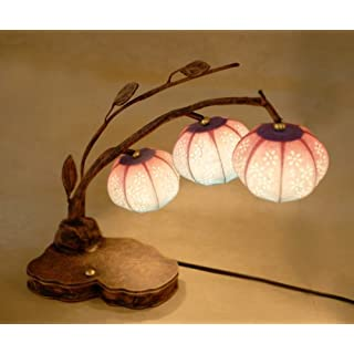 Mulberry Rice Paper Ball Handmade Bellflower Design Art Shade Round Globe Three Lantern Brown Asian Oriental Decorative Bedside Accent Unique Home Decor Table Desk Lamp