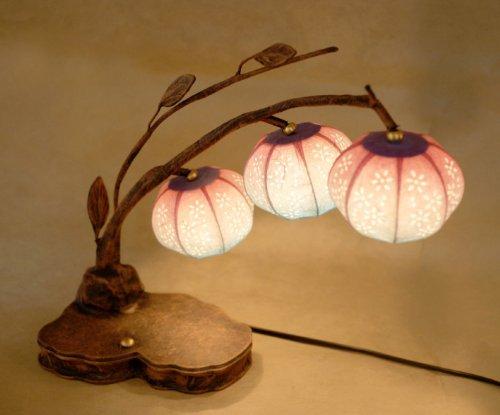 Papier Lampe Asien Handarbeit Glockenblume Gelb Design Tischlampe Schöne dekorative Lampe aus Maulbeerpapier hergestellt in Korea Leuchte Dekoration Schlafzimmer -