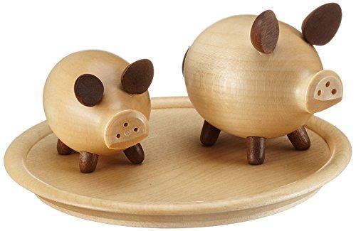 """Schweinchen-Garnitur, Salz- und Pfefferstreuer \""""Schwein\"""", naturfarben, von DREGENO SEIFFEN 12 cm - Original erzgebirgische Handarbeit"""