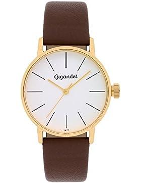 Gigandet Damen-Armbanduhr Minimalism Quarz Uhr Analog Lederarmband Gold Braun G43-003