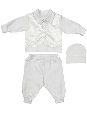 Richelieur Baby-Jungen Taufbekleidung Taufanzug Festlich 3-tlg.Weiss Baumwolle Taufkleid Langarm Hochzeit