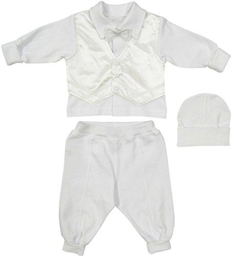 Baby-Jungen Taufkleidung Taufanzug Festlich 3-TLG.Weiss Baumwolle Langarm Hochzeit (56)