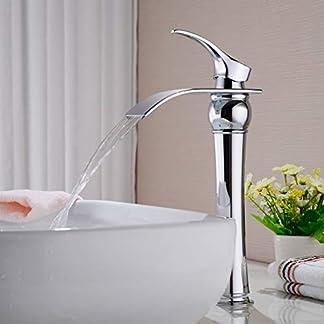 41MuCBAQosL. SS324  - Auralum Grifo de alta salida para baño, cascada, monomando, cromo, grifo mezclador para cuarto de baño