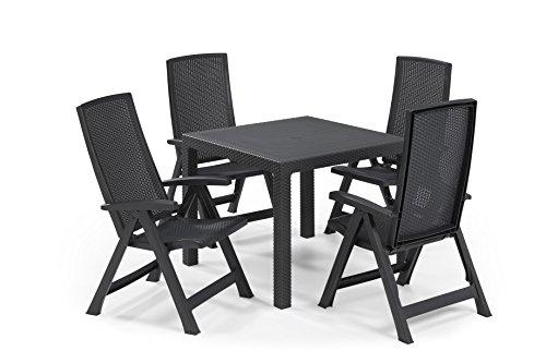Keter - Set de mobiliario de jardín Quartet/Montreal (mesa + 4 sillas), color grafito