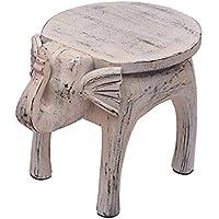 Preisvergleich für storeindya Land-Art-hölzerner Runder Couchtisch-Elefant Formte Nachttisch-Seiten-Endtabelle weißes beunruhigtes Ende Hauptkinderraum-Möbel Shabby Chic-Dekor - 48,2 X 33 X 36,8 cm
