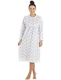 af83d6b652beb4 Camille - Damen Langarm-Nachthemd mit Knopfleiste - klassischer Stil -  Baumwolle - Weiß mit
