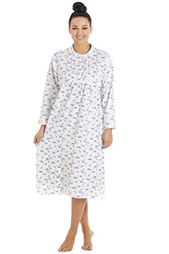 Camille Chemise de Nuit Classique pour Femme Manches Longues/Boutons sur Le Devant Coton - Blanc/Motif Floral Bleu 46/48 Blu