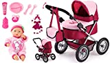 Bayer Design 13014AE Puppenwagen Trendy Set mit Funktionspuppe First Words Baby inkl. Zubehör, rot