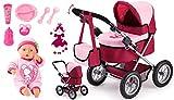 Bayer Design Cochecito Set-con Muñeca bebé primeras Palabras y Muchos Accesorios, Color Rojo (13014AE)