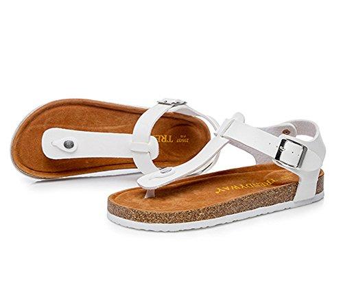 Unisex-Erwachsene Sandalen mit Korkfußbett Zehengreifer Flip-Flops Schuhe Flache Sandalette Komfort Zehentrenner 36 rote hhifYVGZ
