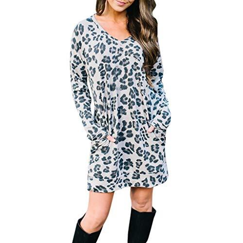 Yumimi88 Neue Mode Damen Plus Size Lässige Oansatz Leopard Print Pocket Damen Mini Kleid Pullover Tops Bekleidung - Pullover Kleid Print Leopard