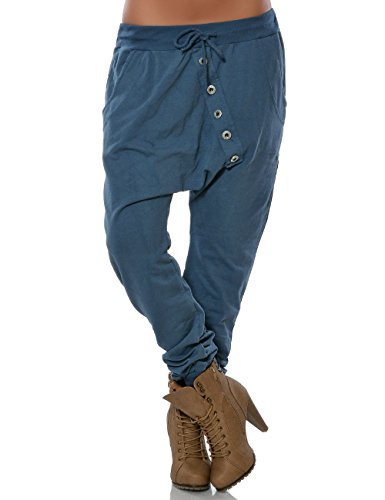 Damen Casual Boyfriend-Hose Jogginghose Sweathose Sport-Hose Freizeithose Knopfleiste No 15647, Farbe:Petrol;Größe:One Size