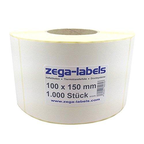 Thermo Etiketten auf Rolle - 100 x 150 mm - 1.000 Stück je Rolle - Kern: 76 mm - aussen gewickelt - permanent haftend - mit Perforation - Druckverfahren: Thermodirekt (ohne Farbband) (Industrie-thermodirekt)