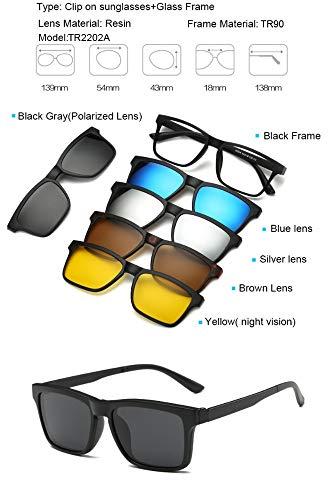 MOLUO Sonnenbrille TR90 Clip On Sonnenbrille Herren Magnetclip Sonnenbrille Damen Magnetclip Optische Myopiebrille Rahmen mit 5 Sonnenbrillengläsern, TR2202A